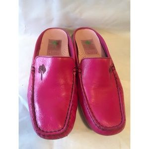 Lilly Pulitzer Moccasin Legítimo Pink Mules Size 6